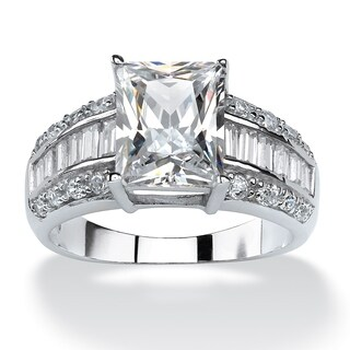 PalmBeach CZ Platinum over Silver Emerald- and Baguette-cut Cubic Zirconia Ring Glam CZ
