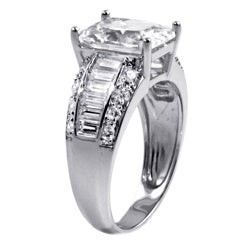 Ultimate CZ Platinum over Silver Emerald- and Baguette-cut Cubic Zirconia Ring