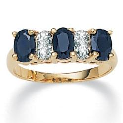 PalmBeach 18k Gold/ Silver Sapphire/ 1/10ct TDW Diamond Ring (K-L, I1-I2) Diamonds & Gems