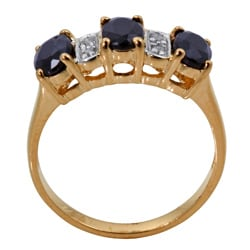 Angelina D'Andrea 18k Gold/ Silver Sapphire/ 1/10ct TDW Diamond Ring (K-L, I1-I2)
