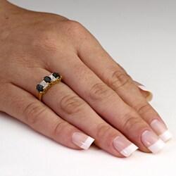 PalmBeach 18k Gold/ Silver Sapphire/ 1/10ct TDW Diamond Ring (K-L, I1-I2)