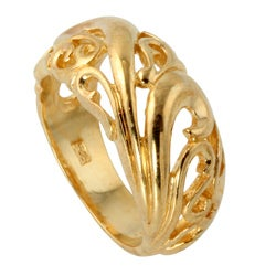 Palmbeach 18k Gold over Silver Openwork Dome Ring