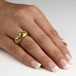 PalmBeach 18k Gold over Silver Openwork Dome Ring Tailored