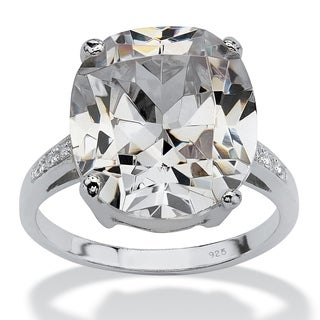 PalmBeach 33.09 TCW Faceted Cubic Zirconia Sterling Silver Ring Sizes 7-12 Glam CZ