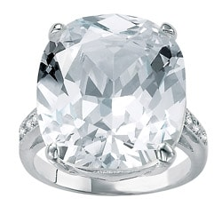 Ultimate CZ Sterling Silver Faceted Cubic Zirconia Ring