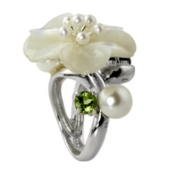 Angelina D'Andrea Silver Mother of Pearl, Peridot and Garnet Ring (3-9 mm)