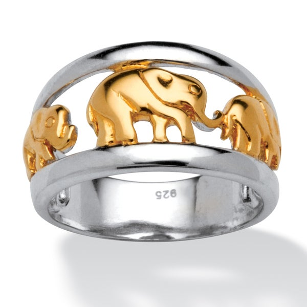 PalmBeach Elephant Ring in Two Tone Sterling Silver with Golden Accents Tailored