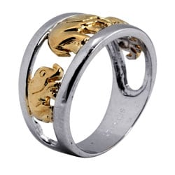 PalmBeach Two-tone Silver Elephant Ring Tailored