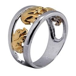 Palmbeach Two-tone Silver Elephant Ring