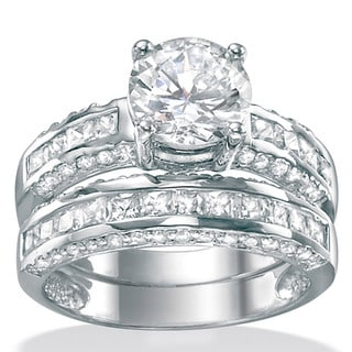 Ultimate CZ Platinum over Silver Cubic Zirconia Bridal-Inspired Ring Set