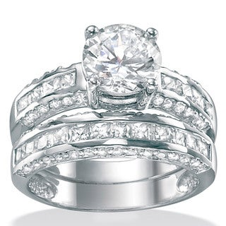 PalmBeach CZ Platinum over Silver Cubic Zirconia Bridal-Inspired Ring Set Classic CZ