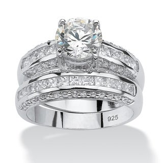 PalmBeach 2 Piece 3.20 TCW Round Cubic Zirconia Bridal Ring Set in Platinum over Sterling Silver Classic CZ