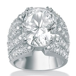 Ultimate CZ Sterling Silver Clear Cubic Zirconia Sparkler Ring