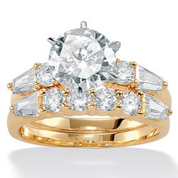 Ultimate CZ 10k Gold Cubic Zirconia Bridal-Inspired Ring Set