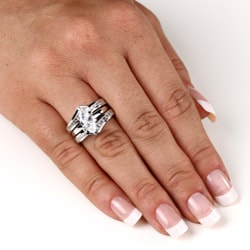 Ultimate CZ Sterling Silver Cubic Zirconia Bridal-Inspired Ring Set