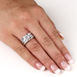 PalmBeach CZ Silver Clear Cubic Zirconia 3-piece Wedding-style Ring Set