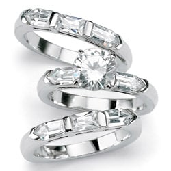 PalmBeach CZ Silver Clear Cubic Zirconia 3-piece Wedding-style Ring Set Glam CZ