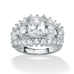 PalmBeach CZ Platinum over Silver Clear Cubic Zirconia Ring Glam CZ
