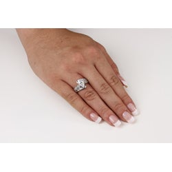 Ultimate CZ Highly Polished Platinum over Silver Clear Cubic Zirconia Ring