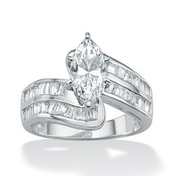 Ultimate CZ Platinum over Silver Clear Cubic Zirconia Ring