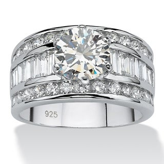 PalmBeach 4.12 TCW Round Cubic Zirconia Platinum over Sterling Silver Engagement Anniversary Ring Glam CZ