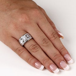 Ultimate CZ Platinum over Sterling Silver Cubic Zirconia Engagement Ring