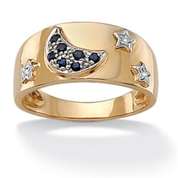 Angelina D'Andrea 18k Gold over Silver Sapphire and 1/10ct TDW Diamond Ring (H-I, I2-I3)