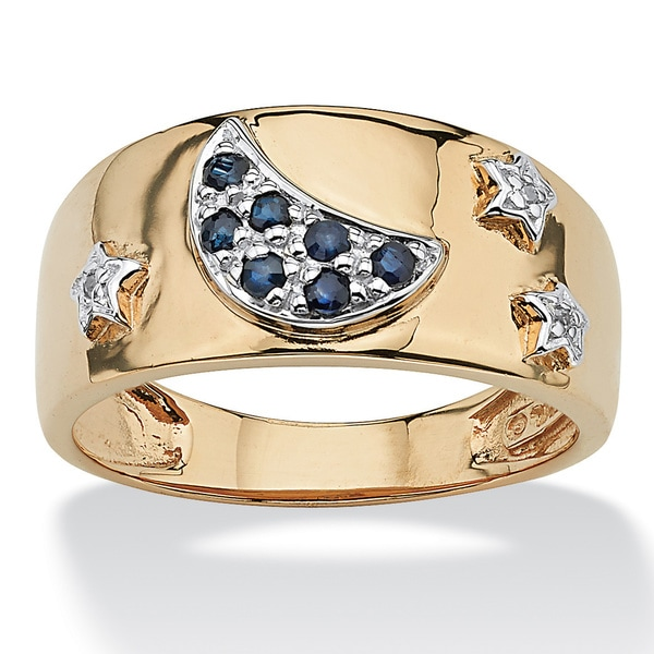 PalmBeach Genuine Midnight Blue Sapphire 18k Gold over Sterling Silver Moon & Stars Ring