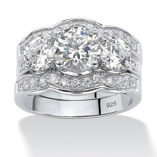PalmBeach 4.43 TCW Round Cubic Zirconia Three-Piece Bridal Set in Sterling Silver Glam CZ