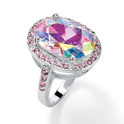 Lillith Star Sterling Silver AB and Pink Cubic Zirconia Ring