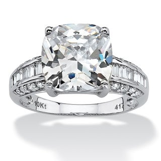 PalmBeach CZ 10k White Gold Cushion-cut Clear Cubic Zirconia Ring Glam CZ