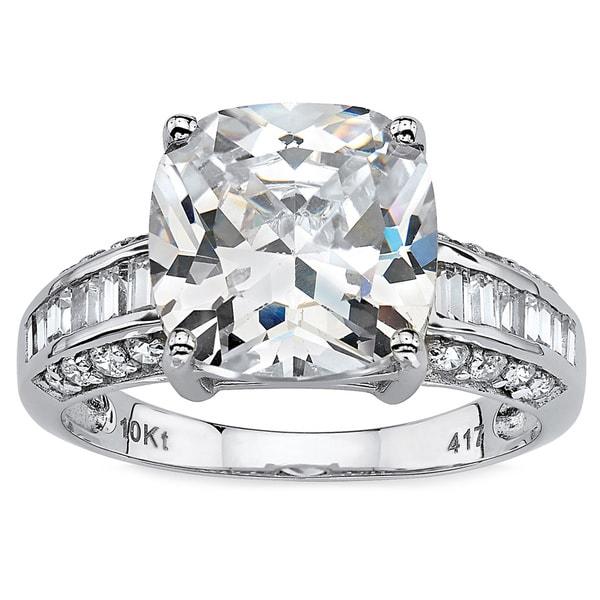 PalmBeach 3.28 TCW Cushion-Cut Cubic Zirconia 10k White Gold Engagement Anniversary Ring Glam CZ