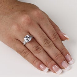 PalmBeach CZ 10k White Gold Cushion-cut Clear Cubic Zirconia Ring