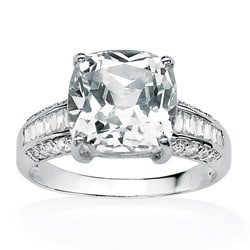 Ultimate CZ 10k White Gold Cushion-cut Clear Cubic Zirconia Ring