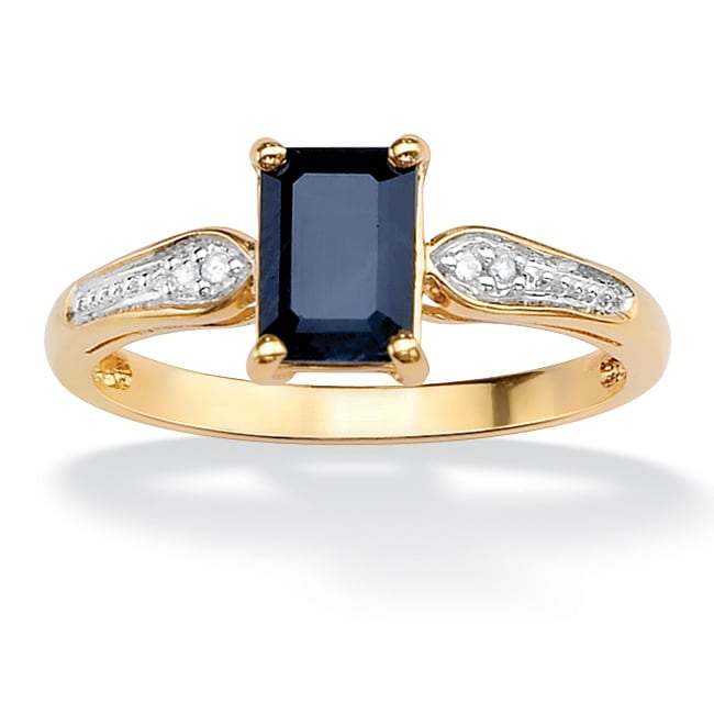 PalmBeach 1.15 TCW Emerald-Cut Genuine Midnight Blue Sapphire 18k Gold over Sterling Silver Ring