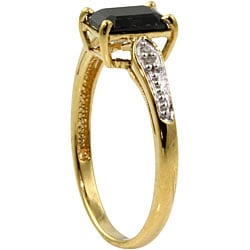Angelina D'Andrea 18k Gold over Silver Sapphire and Diamond Accent Ring
