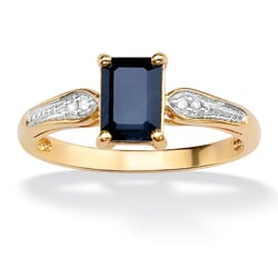 PalmBeach 18k Gold over Silver Sapphire and Diamond Accent Ring Diamonds & Gems
