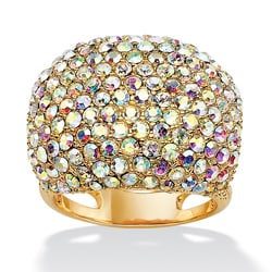 PalmBeach Round Aurora Borealis Multi-Crystal 14k Yellow Gold-Plated Cocktail Dome Ring Bold Fashion