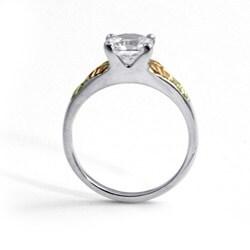 PalmBeach 2.12 TCW Princess-Cut Cubic Zirconia 12k Black Hills Gold Sterling Silver Leaf Motif Ring Classic CZ