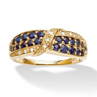 PalmBeach 18k Gold over Silver Sapphire and Diamond Ring Diamonds & Gems