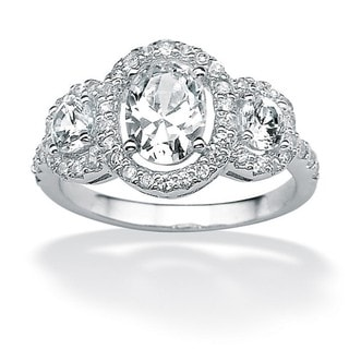 PalmBeach CZ Platinum over Sterling Silver Oval and Round Cubic Zirconia Ring Classic CZ