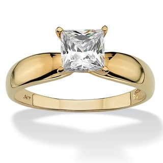 PalmBeach 1.20 TCW Princess-Cut Cubic Zirconia 10k Yellow Gold Bridal Engagement Solitaire Ring Classic CZ