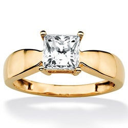Ultimate CZ 10k Yellow Gold Princess-cut Cubic Zirconia Solitaire Ring