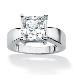 Ultimate CZ 10k White Gold Princess-Cut Cubic Zirconia Solitaire Ring