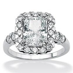 Palmbeach CZ Sterling Silver Emerald-cut Cubic Zirconia Ring
