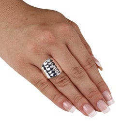 PalmBeach Sterling Silver Hammered-Style Band Ring Tailored