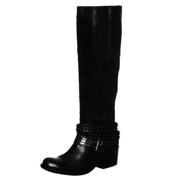 Bronx Women's 'Stuck On You' Black Tall Belted Riding Boots