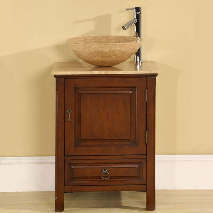 Silkroad Exclusive Travertine Stone 22 Inch Single Sink Cabinet Bathroom Vani