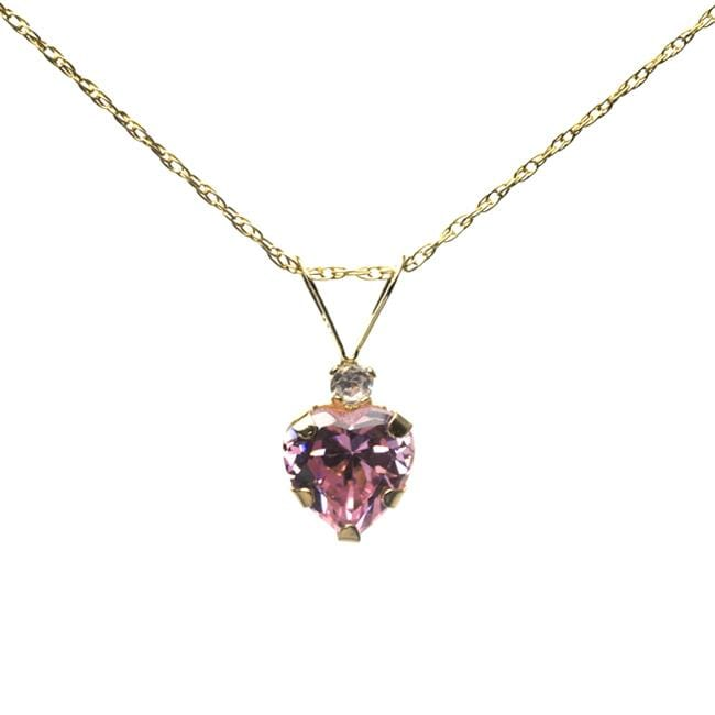 10k Yellow Gold Pink Cubic Zirconia Heart Necklace
