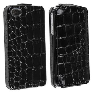 Black Crocodile Skin Pattern Leather Case for Apple iPhone 4
